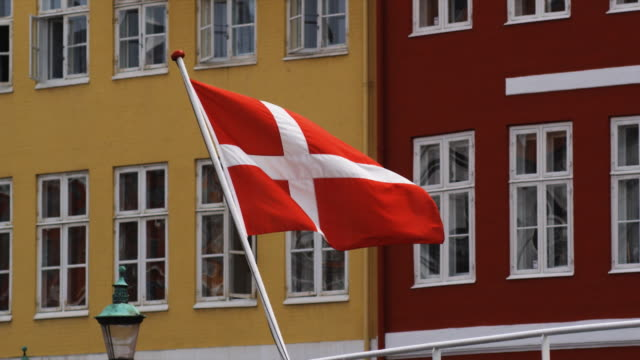 danish flag in the wind - denmark stock videos & royalty-free footage