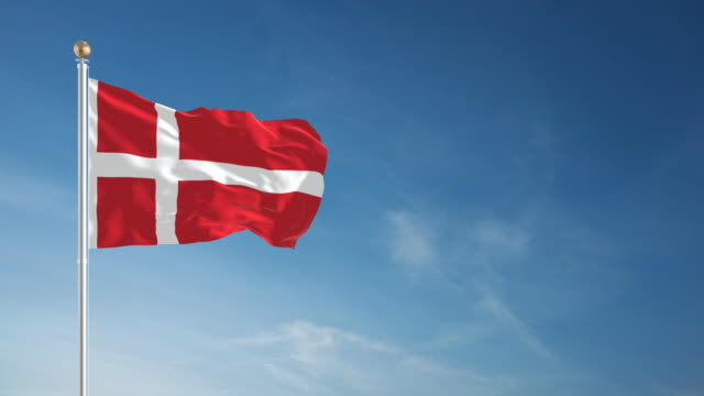 4k danish flag - loopable - denmark stock videos and b-roll footage