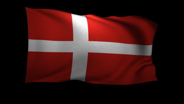 vídeos y material grabado en eventos de stock de cgi danish flag waving against black background - danish flag