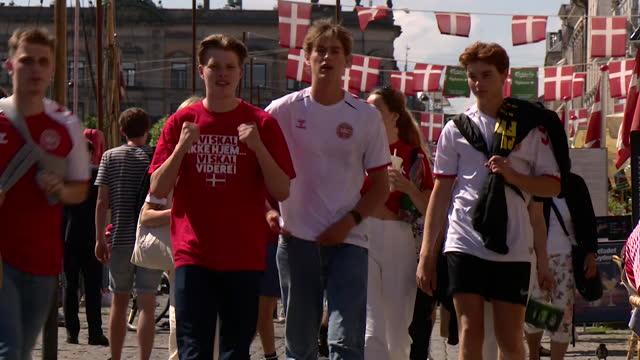 "danish football fans in copenhagen ahead of the england v denmark semi final for euro 2020 - ""bbc news"" stock videos & royalty-free footage"