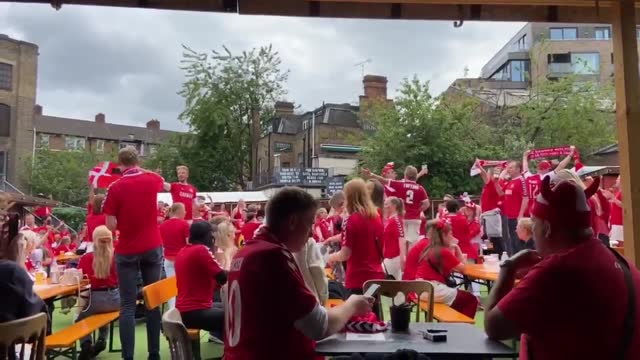 danish football fans in london gathered hours before kick-off for england vs denmark on july 7, 2021 in london, england. - time stock videos & royalty-free footage