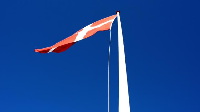 vídeos y material grabado en eventos de stock de danés bandera nacional ondeando al viento en claro cielo azul - danish flag