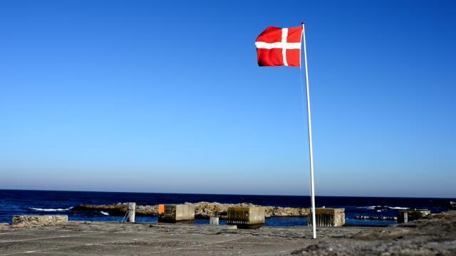 vídeos y material grabado en eventos de stock de bandera nacional danés es encima de un mástil al lado del mar - danish flag