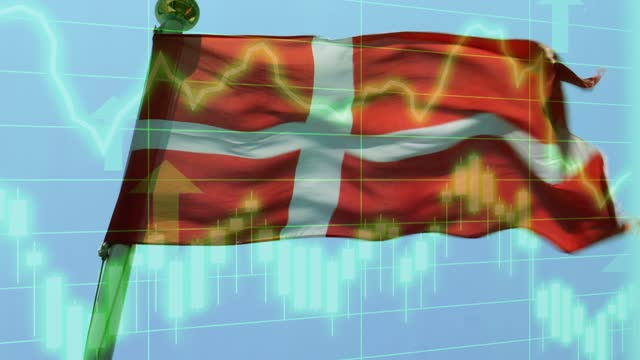 danish national flag with positive growth chart and graph data. concept piece to indicate improving gdp, stock market crash, recession, depression, inflation, deflation, bull market, good national, economic and business performance - bull market stock videos & royalty-free footage