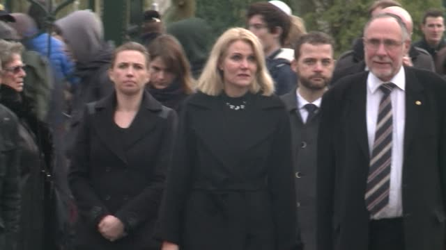 danish prime minister helle thorningschmidt led hundreds of mourners tuesday at the funeral of a jewish man who was among two people killed in a... - oresund region stock videos & royalty-free footage