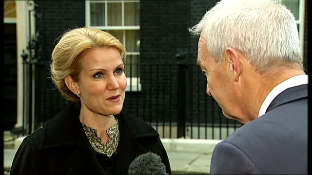 danish prime minister holds talks with david cameron; england: london: downing street: ext helle thorning-schmidt interview sot - seven senior member... - grecia stato video stock e b–roll