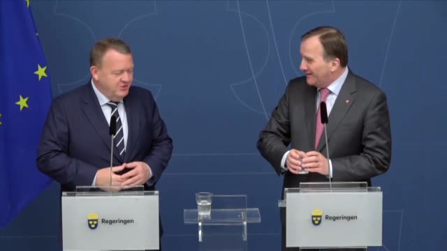 Danish Prime Minister Lars Lokke Rasmussen and Swedish Prime Minister Stefan Lofven meet and hold a joint press conference on March 27 2019 in...