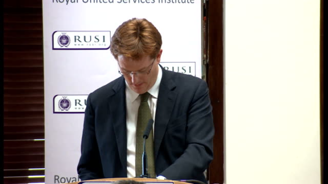 Danny Alexander speech on Trident Alternatives Review ENGLAND London RUSI INT Danny Alexander MP arriving / introductory speech SOT / Danny Alexander...