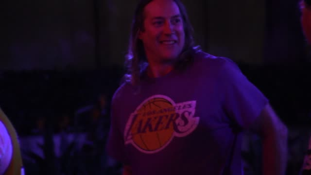 Danny Carey greets fans at Lakers Vs Knicks Game at the Staples Center in Los Angeles in Celebrity Sightings in Los Angeles