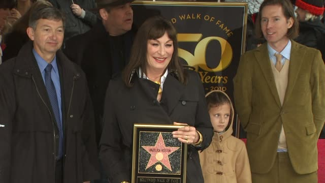 danny huston anjelica huston and wes anderson at the anjelica huston honored with a star on the hollywood walk of fame at hollywood ca - walk of fame stock videos and b-roll footage