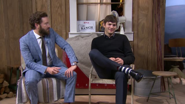 danny masterson and ashton kutcher discuss the ranch; england: london: int danny masterson and ashton kutcher interview sot -on new web television... - ashton kutcher stock videos & royalty-free footage