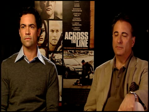 Danny Pino and Andy Garcia on their characters in the film at the 'Across The Line The Exodus Of Charlie Wright' Junket at Los Angeles CA