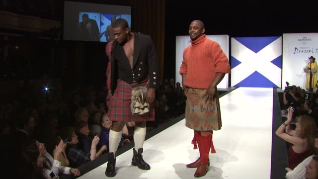 danny ware and ahmad bradshaw at the 9th annual dressed to kilt charity fashion show at new york ny. - kilt stock videos & royalty-free footage