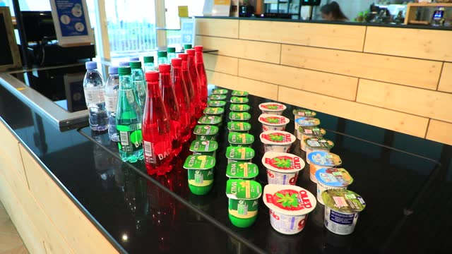 "danone brand products at the french agrifood giant danone new head office on january 26 in reuil malmaison, france. the ""convergence"" building has... - feeding stock videos & royalty-free footage"