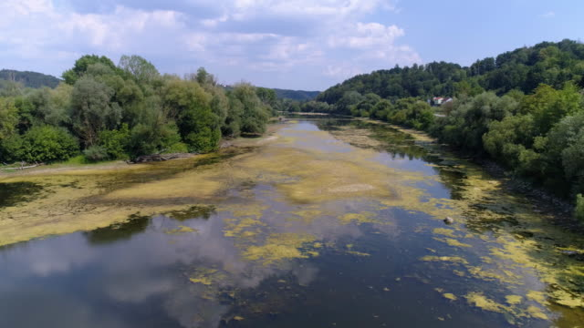danube flood plain near vilshofen in lower bavaria - backwater stock videos & royalty-free footage