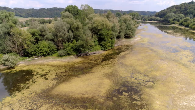 danube flood plain near vilshofen in lower bavaria - river danube stock videos & royalty-free footage