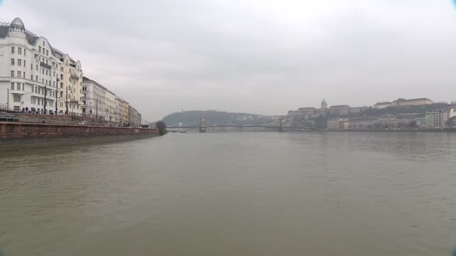 danube in budapest - royal palace of buda stock videos & royalty-free footage