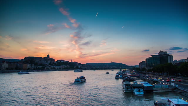 danube river - budapest - hungary - royal palace of buda stock videos & royalty-free footage