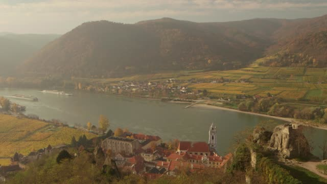 danube river valley - durnstein austria - river danube video stock e b–roll