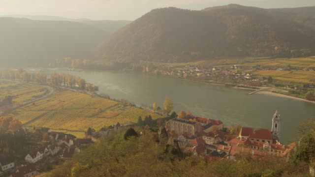 danube river valley - durnstein austria - river danube stock videos & royalty-free footage