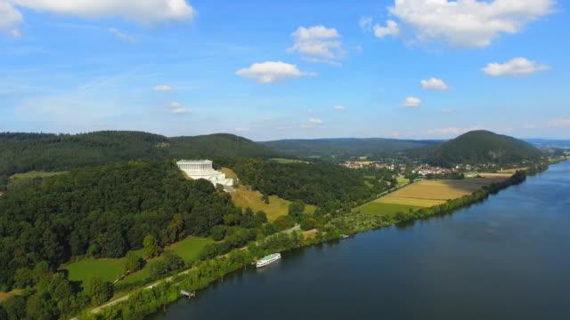 t/l danube valley and walhalla temple near regensburg flyover - regensburg stock videos & royalty-free footage