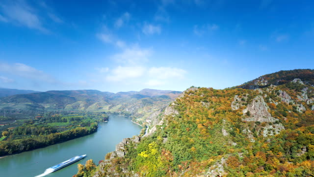 danube valley  with nautical vessel; time  lapse - river danube stock videos & royalty-free footage