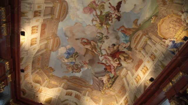 Danube, Wachau Valley, Frescoes on the ceiling in the Melk abbey (Benedictine abbey)