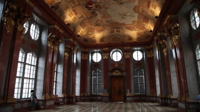 danube, wachau valley, the marble hall in the melk abbey (benedictine abbey) - abbey stock videos & royalty-free footage