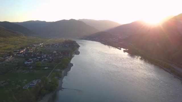 danube - wachau/austria (aerial shot 4k) - river danube stock videos & royalty-free footage