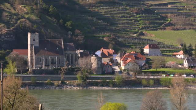 danube - wachau/austria (aerial shot 4k) - donau stock-videos und b-roll-filmmaterial