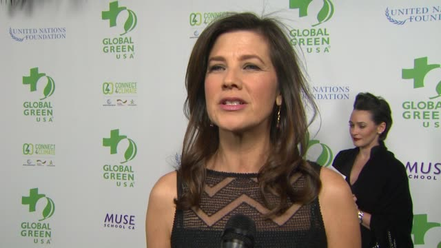vídeos de stock, filmes e b-roll de interview daphne zuniga on the event at global green usa 13th annual preoscar® party in los angeles ca - global green usa