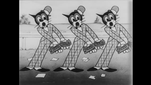 dapper cat trio sings - cartoon stock videos & royalty-free footage