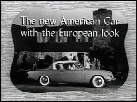"""daring step forward in motorcar styling is the new '53 studebaker!"""" the narrator exclaims. this 20-second spot announces studebaker's now iconic 1953... - raymond loewy video stock e b–roll"""