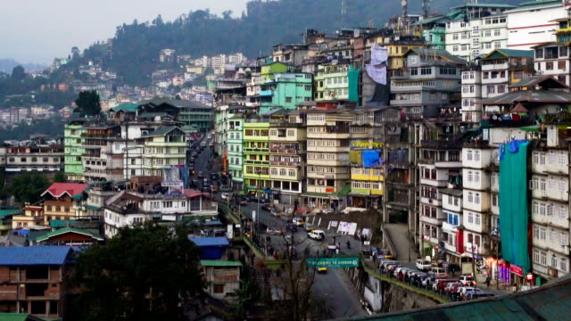 ZO, Darjeeling city view from high angle shot, West Bengal, India