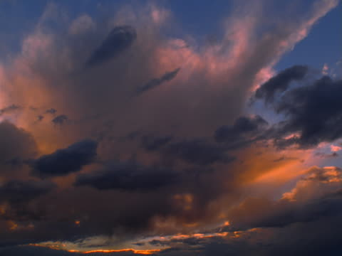 dark altocumulus clouds at sunset - altocumulus stock videos and b-roll footage