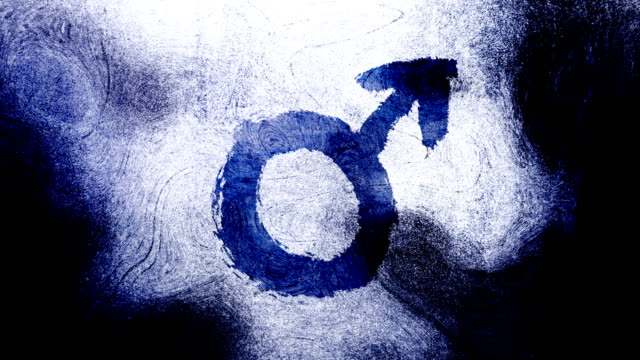 dark blue mars, male, gender symbol on a high contrasted grungy and dirty, animated, distressed and smudged 4k video background with swirls and frame by frame motion feel with street style for the concepts of gender equality, women-social issues - gender symbol stock videos and b-roll footage