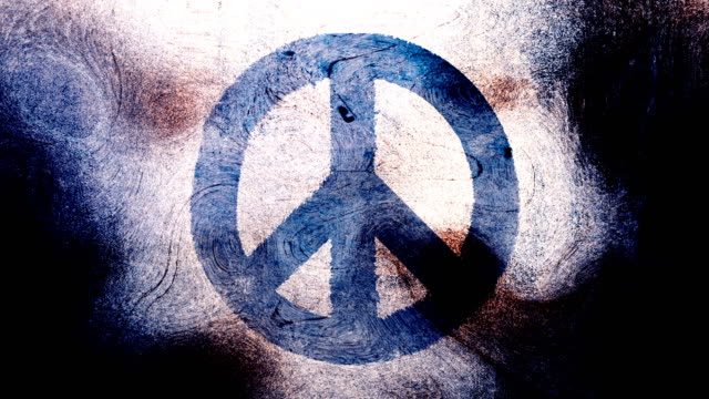 dark blue peace symbol on a high contrasted grungy and dirty, animated, distressed and smudged 4k video background with swirls and frame by frame motion feel with street style for the concepts of peace, world peace, no war, protest, and tranquility - smudged stock videos & royalty-free footage