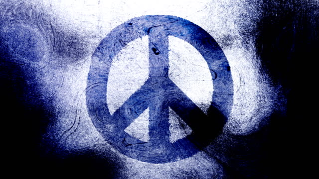 Dark blue peace symbol on a high contrasted grungy and dirty, animated, distressed and smudged 4k video background with swirls and frame by frame motion feel with street style for the concepts of peace, world peace, no war, protest, and tranquility