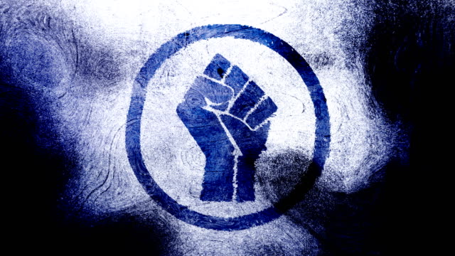 dark blue raised fist symbol on high contrasted grungy and dirty, animated, distressed and smudged 4k video background with swirls and frame by frame motion feel with street style for the concepts of solidarity,support,human rights,worker rights,strength - smudged stock videos & royalty-free footage