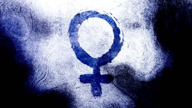 Dark Blue Venus, female, gender symbol on a high contrasted grungy and dirty, animated, distressed and smudged 4k video background with swirls and frame by frame motion feel with street style for the concepts of gender equality, women-social issues