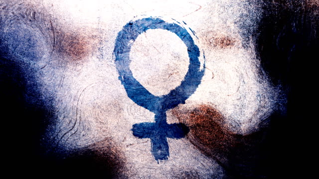 dark blue venus, female, gender symbol on a high contrasted grungy and dirty, animated, distressed and smudged 4k video background with swirls and frame by frame motion feel with street style for the concepts of gender equality, women-social issues - gender symbol stock videos & royalty-free footage