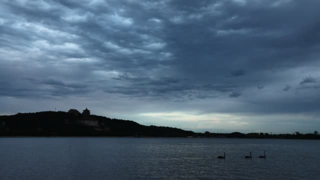 dark cloud passed over the sky of the summer palace on september 1 in beijing china - summer palace beijing stock videos & royalty-free footage