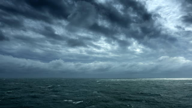Dark clouds cover the sea