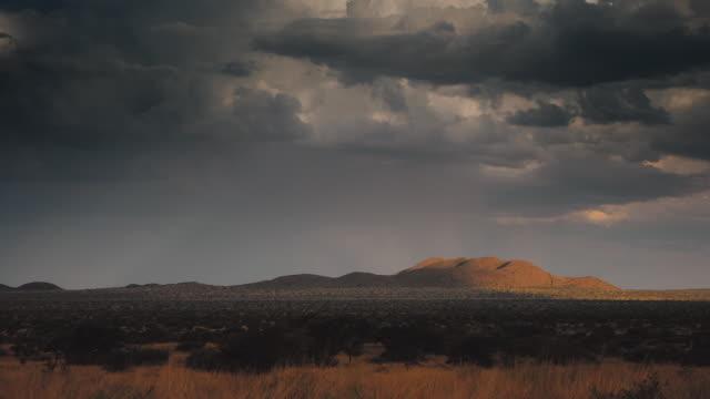 vídeos de stock e filmes b-roll de dark clouds drift above the kalahari desert. available in hd. - savana