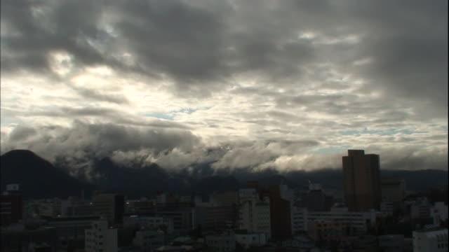 Dark clouds hover over Yamagata, Japan.