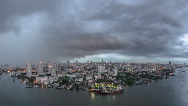 Dark clouds of storm cover the city.