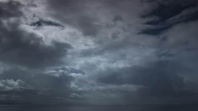 Dark clouds pass over ocean.
