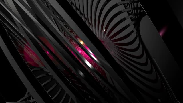 vídeos y material grabado en eventos de stock de complejo oscuro abstracto animación con núcleo de forma brillante - cambio de oficina