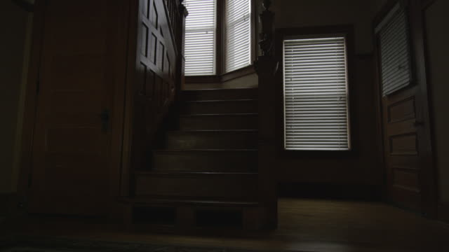 dark, empty, scary, interior shot featuring the foray, oak staircase and wainscoting an old home. camera dollies forward and back. - 部屋点の映像素材/bロール
