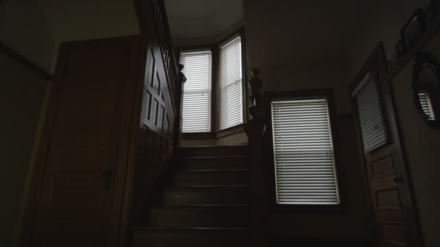 Dark, empty, scary, interior shot featuring the foray, oak staircase and wainscoting an old home. Camera dollies forward and back.